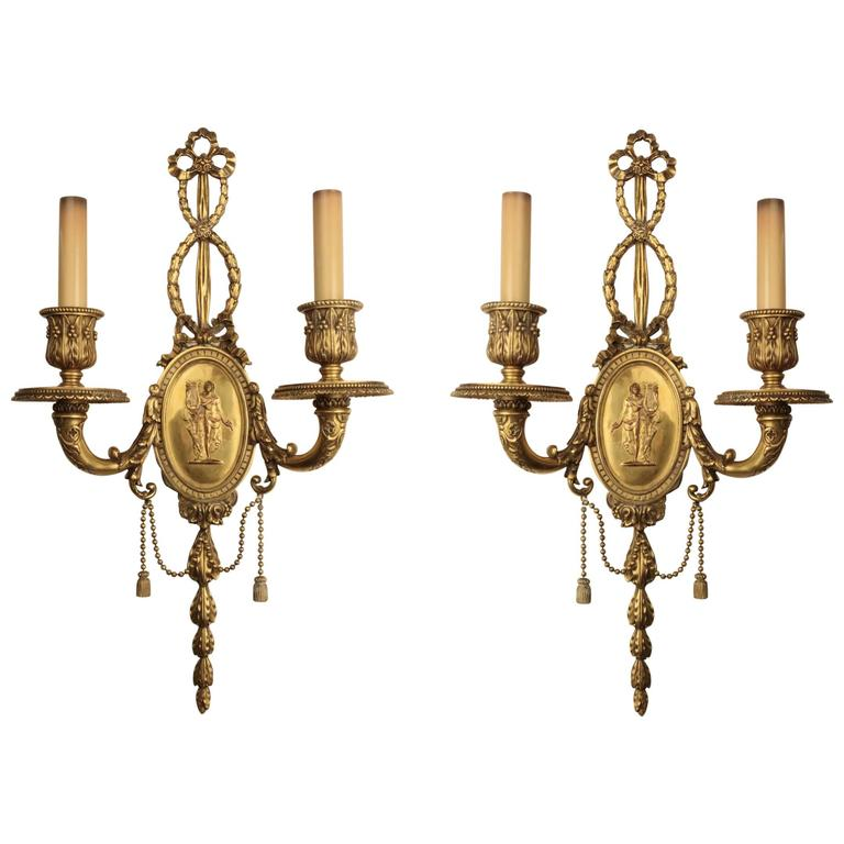 Pair of E. F. Caldwell Two-Arm Wall Sconces