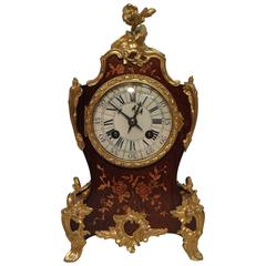 French Louis XV Style Floral Marquetry Inlaid Mantel Clock