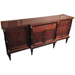 French Mahogany with Brass Trim Decoration Credenza or Sideboard, 19th Century