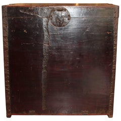 Antique Elm Travel Trunk with Original Hardware