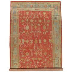 Antique Oushak Carpet, Oriental Rug, Handmade Coral, Ivory and Light Blue, Soft