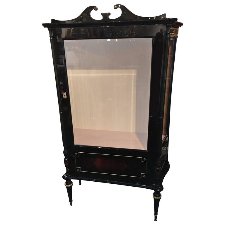French Empire Style Ebonized Display Cabinet or Bookcase, Mid-20th Century