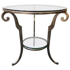 Silver Gilt Steel and Glass Tiered Table