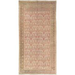 Antique Khotan Rug, Deco Handmade Oriental Rug, Brown and Pink Rug