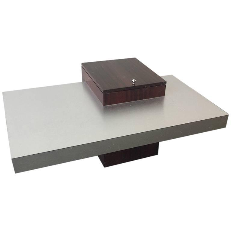Amazing French Coffee Table in Brushed Aluminium with wooden Bar