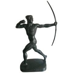 Hugo Lederer Art Deco Bronze of Archer