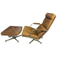 FK85 lounge chair with stool by fabricius & kastholm - very rare natural leather