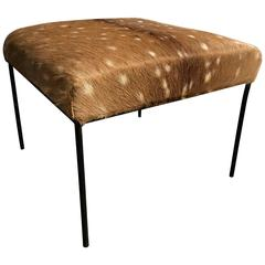 Paul McCobb Deer Hide Upholstered Stool