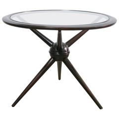 Cesare Lacca Vintage Tripod Mahogany Table with Glass Top