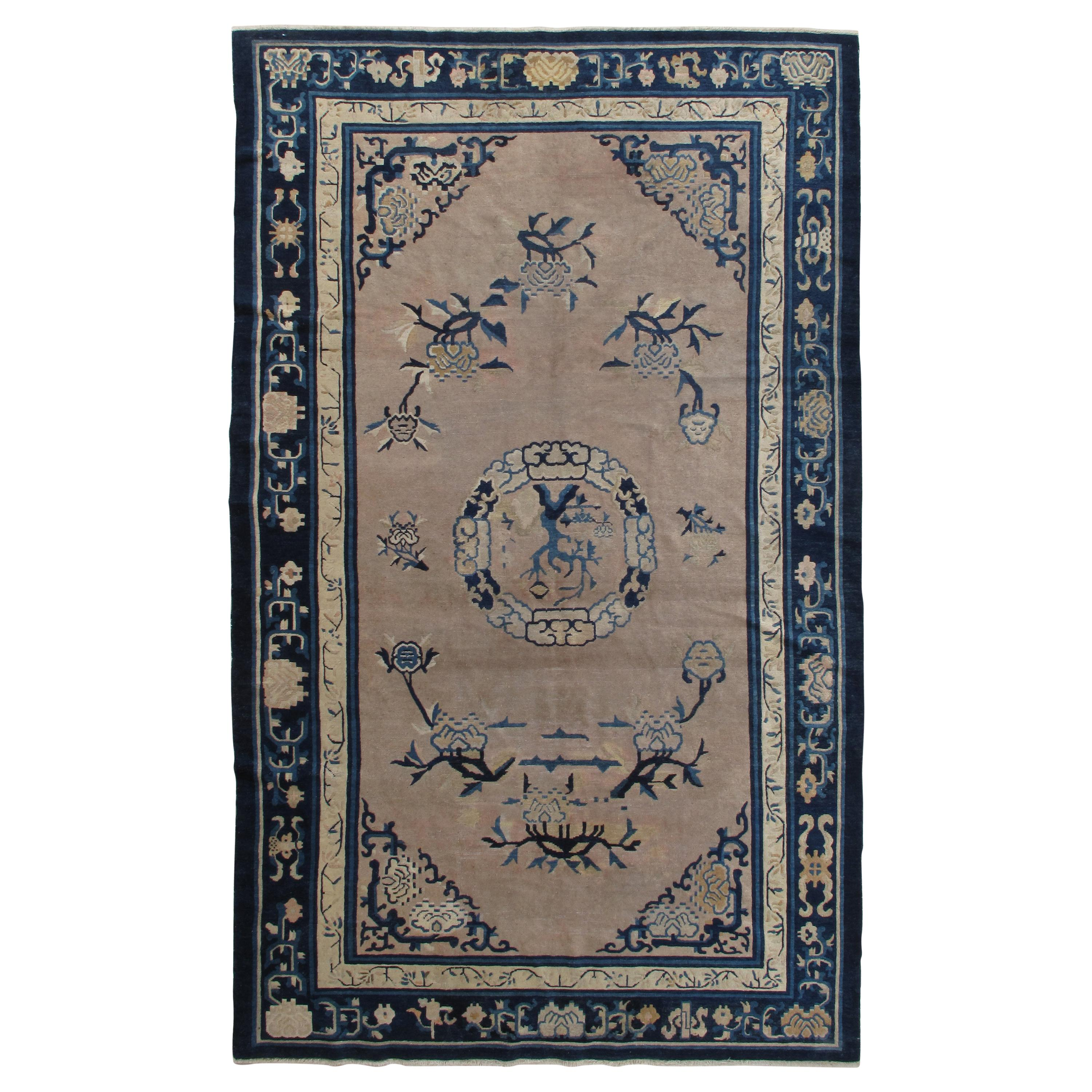 Antique Chinese Rug, Tan and Blue Oriental Handmade Wool Rug
