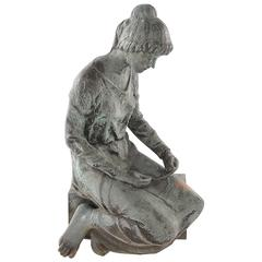 Life Sized Bronze Kneeling Woman Signed Steffenini