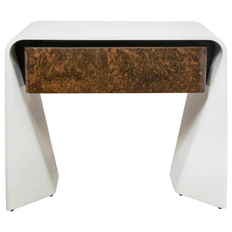 Donghia Tendu White Lacquer End Table with One Burled Walnut Veneer Drawer