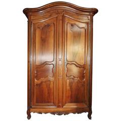 French Large Walnut Wardrobe Armoire, 18th Century