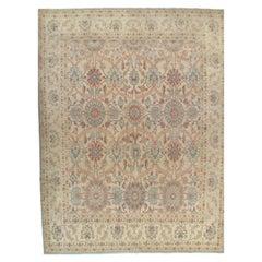 Vintage Persian Sultanabad Carpet, Handmade Oriental, Light Blue, Taupe, Ivory