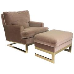 Brass Framed Lounge Chair with Ottoman by Carsons