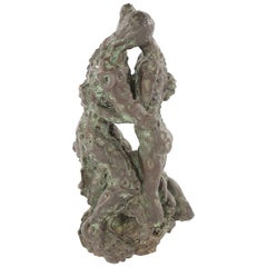Bronze Sculpture the Lovers Embraced Signed