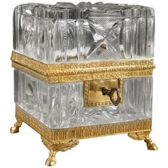 19th Century Charles X Cut-Crystal Jewelry Box with Gilt Bronze Mounts
