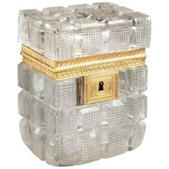 Early 19th Century Charles X Jewelry Box in Cut Crystal and Gilt Bronze
