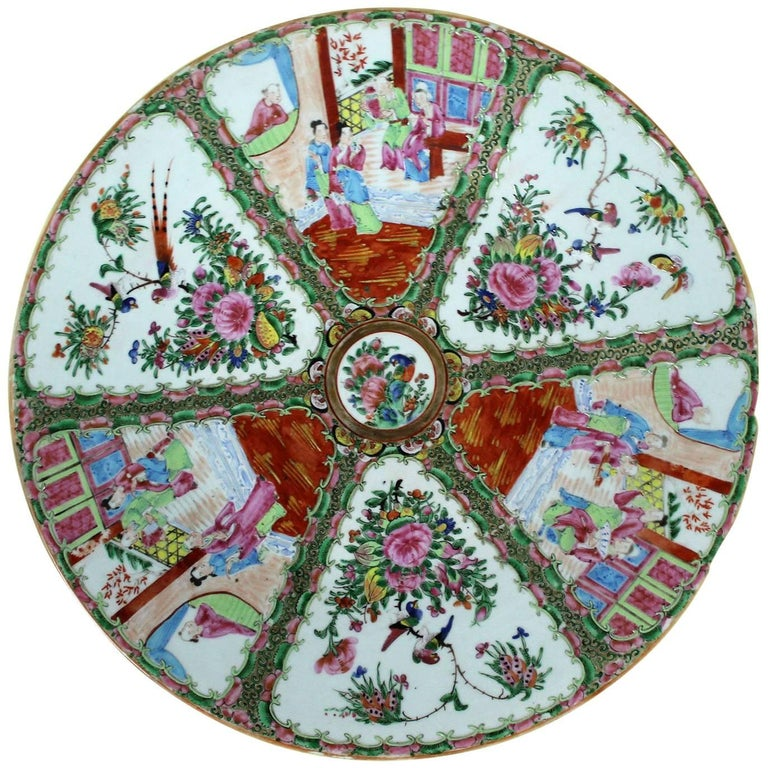 Large Antique Chinese Qing Rose Medallion Porcelain Charger Platter Traditional For Sale