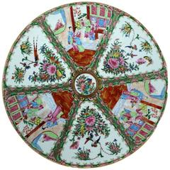 Large Antique Chinese Qing Rose Medallion Porcelain Charger Platter Traditional