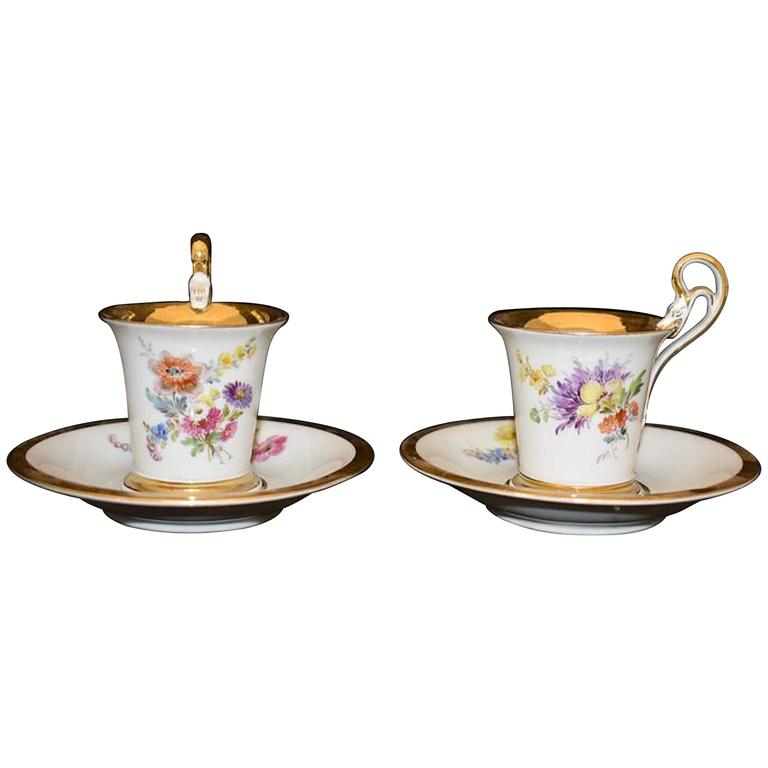 Pair of Meissen Demitasse Cups and Saucers