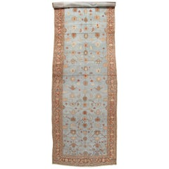 Antique Mahal Runner, Handmade Oriental Rug, Light Blue, Rust, All-Over Design