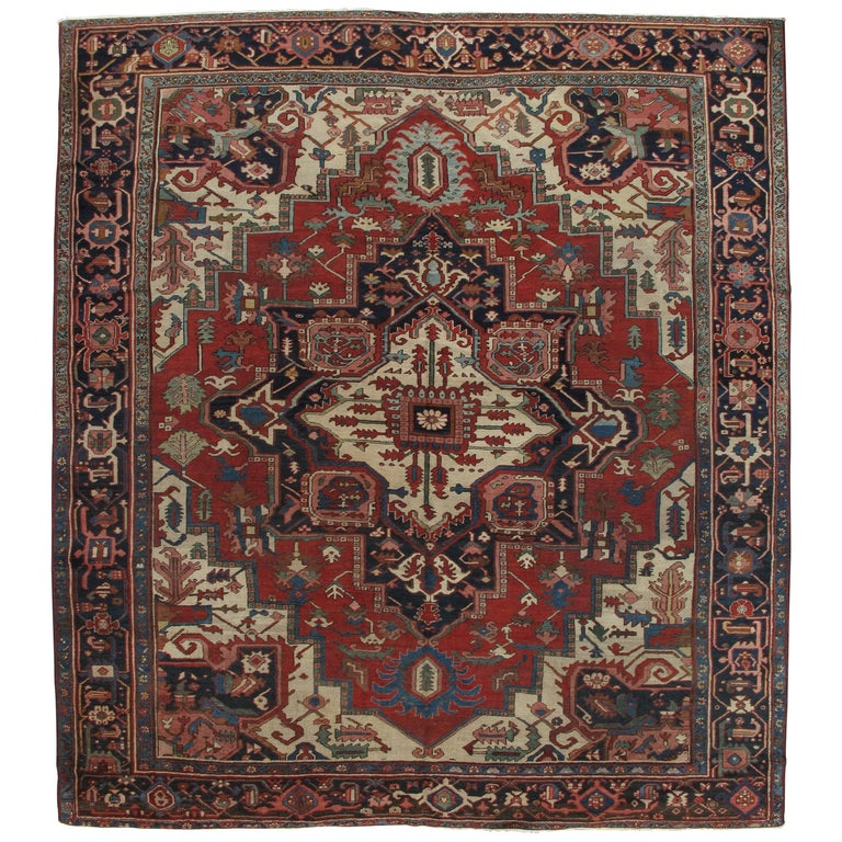 Antique Handsome Serapi Carpet, Handmade Wool Carpet Red Navy, Light Blue, Ivory