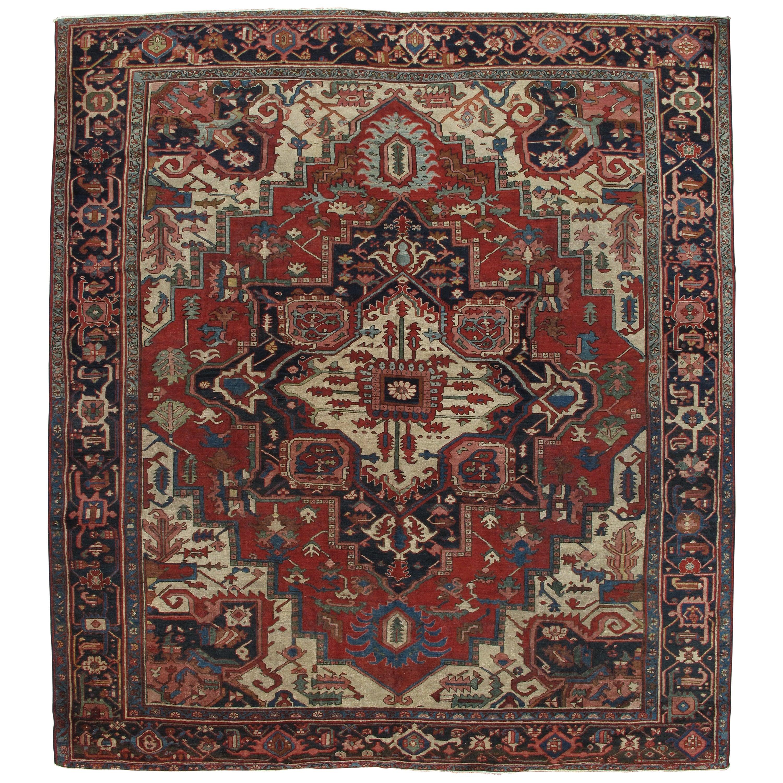 Antique Handsome Serapi Carpet, Handmade Wool Carpet Red Navy, Light Blue, Ivory