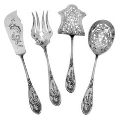 Coignet French All Sterling Silver Dessert Hors D'oeuvre Set Art Nouveau