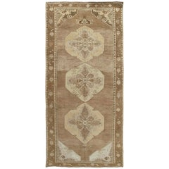 Vintage Turkish Kars Runner, Earth Tone Handmade Wool Oriental Runner, Taupe