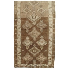 Vintage Anatolian Kars Carpet, Handmade Wool Oriental Rug, Tan Rug