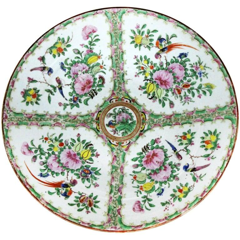Large Antique Chinese Qing Rose Medallion Porcelain Charger Platter Birds Floral For Sale