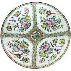 Large Antique Chinese Qing Rose Medallion Porcelain Charger Platter Birds Floral