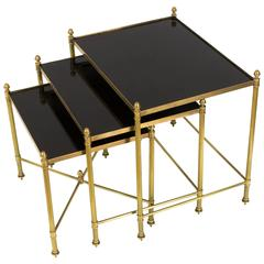 Set of Black Glass and Brass Nesting Tables by Maison Jansen