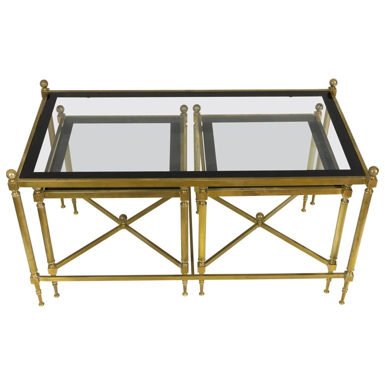 Set Of Three French Brass And Glass Coffee Tables In The Style Of Maison Jansen At 1stdibs