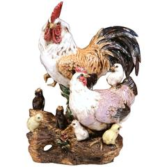 Colorful French Hand-Painted Barbotine Chicken Family Sculpture