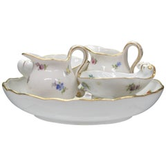 Meissen Porcelain Tray Creamers and Footed Dishes