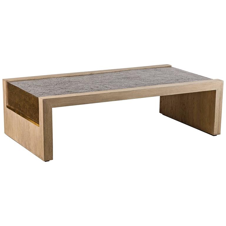 Paul Marra Rustic Modern Waterfall Cocktail Table