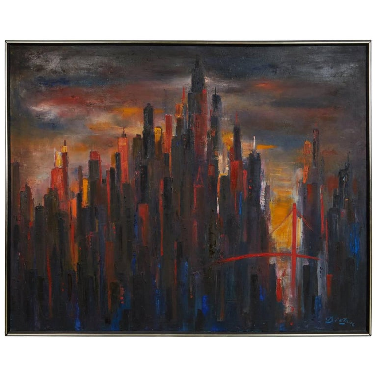 Large Cityscape Skyline Oil Painting, by Dietrich Grunewald for Van Amstel For Sale
