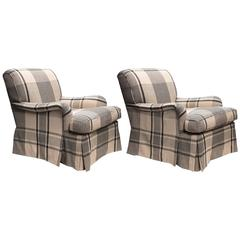 """Set of Two Club Chairs with ZAK+FOX """"Expedition"""" Fabric"""