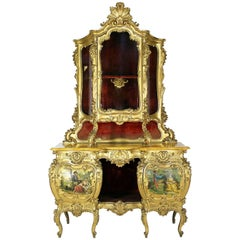 """Venetian 19th Century Giltwood Carved """"Vernis Martin"""" Style Decorated Credenza"""
