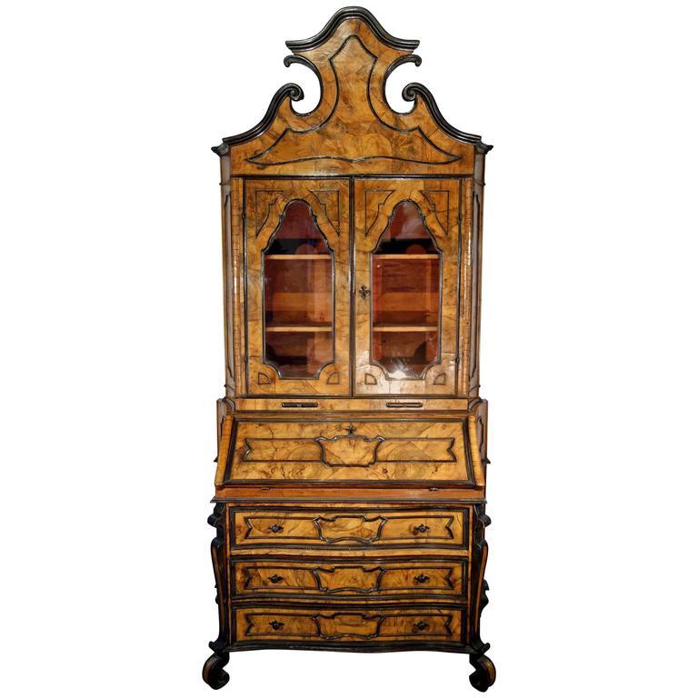 Antique Italian Lombardy Trumeau Secretary Hutch Walnut And Burl Veneer  1840 1