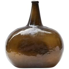 Unique Shaped Green Bottle or Vase from Late 19th Century France.