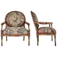 Louis XVI Style Armchairs with Tapestry Floral Fabric, Pair
