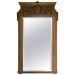 Large Victorian Giltwood and Beveled Glass Floor Mirror, 19th Century