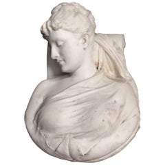 Italian Carved Marble Bust of Woman, 19th Century