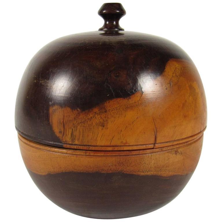 19th Century Lignum Vitae Treen Round Tea Caddy