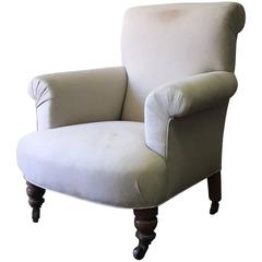 Late 19th Century English Upholstered Chair in Linen