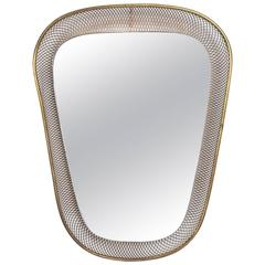 Mid-Century Modern Italian Mirror with Built in Light Sconce