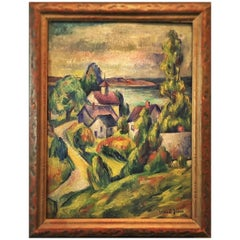 Ernest Fiene, Connecticut Village Landscape, Oil Painting, circa 1921
